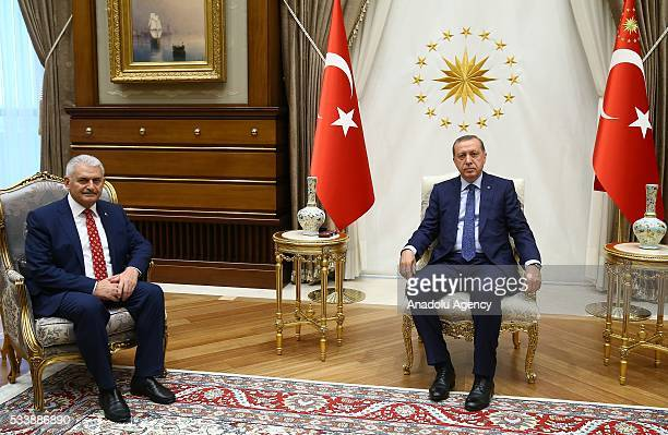 Turkish President Recep Tayyip Erdogan meets with Chairman of the Turkey's ruling Justice and Development Party Binali Yildirim at Presidential...