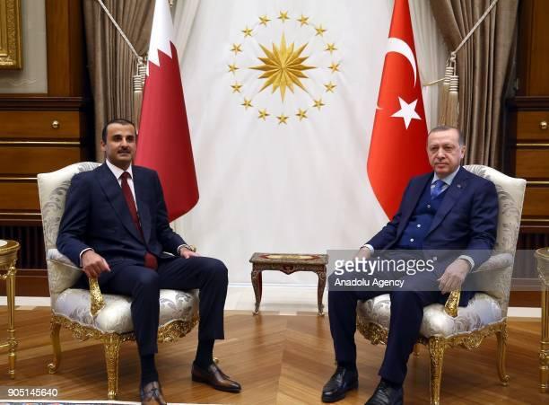 Turkish President Recep Tayyip Erdogan meets with Emir of Qatar Sheikh Tamim bin Hamad Al Thani at Presidential Complex in Ankara Turkey on January...