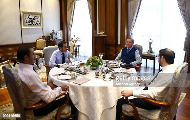 Turkish President Recep Tayyip Erdogan meets with Emir of Qatar Sheikh Tamim bin Hamad Al Thani at Presidential Complex in Ankara Turkey on January...