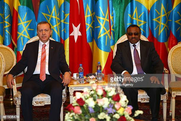 Turkish President Recep Tayyip Erdogan meets with Ethiopian Prime Minister Hailemariam Desalegn at the national palace in Addis Ababa, Ethiopia on...