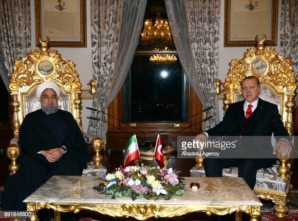 Turkish President Recep Tayyip Erdogan meets with Iranian President Hassan Rouhani at the historical Mabeyn Palace in the Yildiz Palace Complex in...