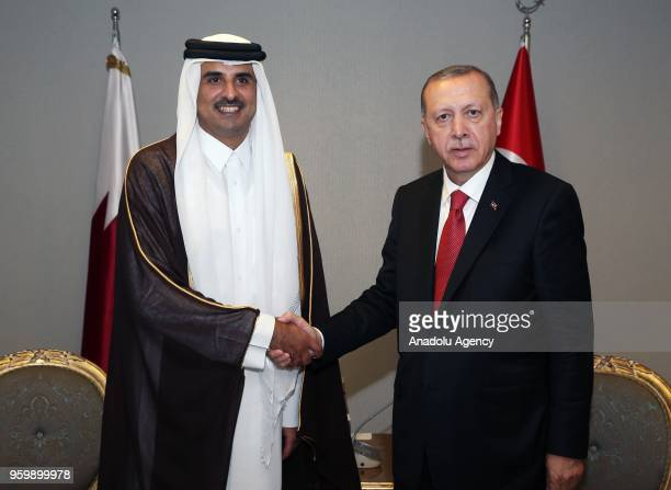 Turkish President Recep Tayyip Erdogan meets with Qatari Emir Sheikh Tamim bin Hamad alThani within the Organization of Islamic Cooperation...