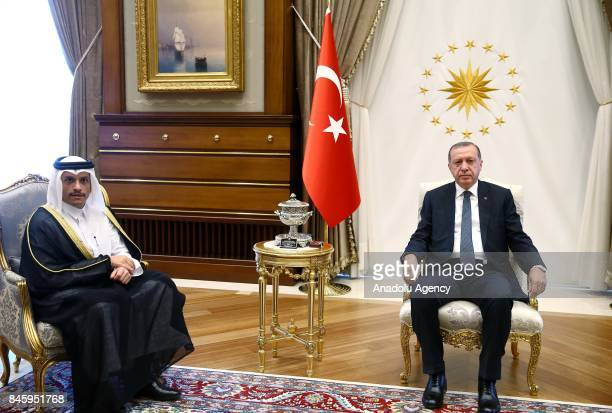 Turkish President Recep Tayyip Erdogan meets with Qatari Foreign Minister Mohammed bin Abdulrahman bin Jassim Al Thani at the Presidential Complex in...