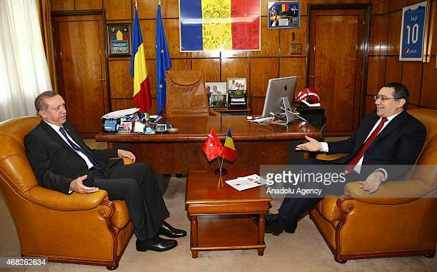 Turkish President Recep Tayyip Erdogan meets with Romanian Prime Minister Victor Ponta in Bucharest Romania on April 01 2015