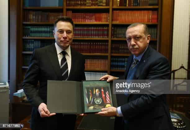 Turkish President Recep Tayyip Erdogan meets with the founder of SpaceX Elon Musk in Ankara Turkey on November 08 2017