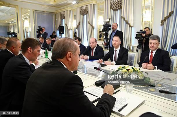 Turkish President Recep Tayyip Erdogan meets with Ukrainian President Petro Poroshenko in Kiev Ukraine on March 20 2015