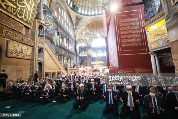 Turkish President Recep Tayyip Erdogan prays at the Hagia Sophia Mosque which was opened to worship after 86 years ahead of the Friday Prayer on July...