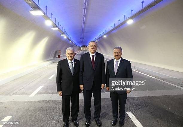 Turkish President Recep Tayyip Erdogan Prime Minister of Turkey Binali Yildirim and Turkish Minister of Transport Maritime and Communication Ahmet...