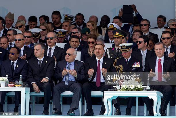 Turkish President Recep Tayyip Erdogan Prince Charles of Wales and Azerbaijani President Ilham Aliyev are seen as Mehmet Gormez president of the...