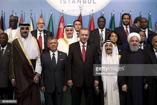 Turkish President Recep Tayyip Erdogan Qatari Emir Sheikh Tamim bin Hamad alThani Jordanian King Abdullah II President of Iran Hassan Rouhani Kuwaiti...