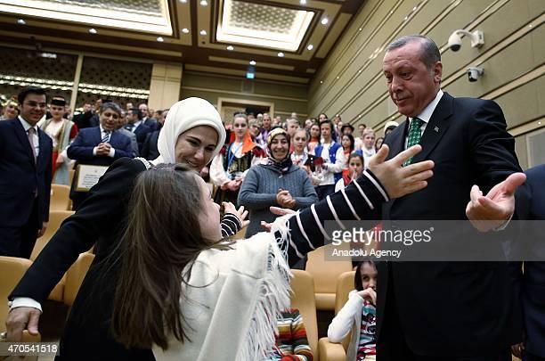 Turkish President Recep Tayyip Erdogan receives children at the Presidential Palace for the TRT International 23 April Children's Festival in Ankara...