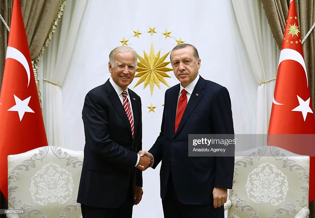 Turkish President Erdogan receives US Vice President Biden in Ankara : News Photo
