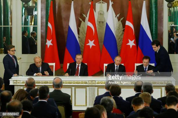 Turkish President Recep Tayyip Erdogan Russian President Vladimir Putin Turkish Culture and Tourism Minister Nabi Avci and Russian Culture Minister...