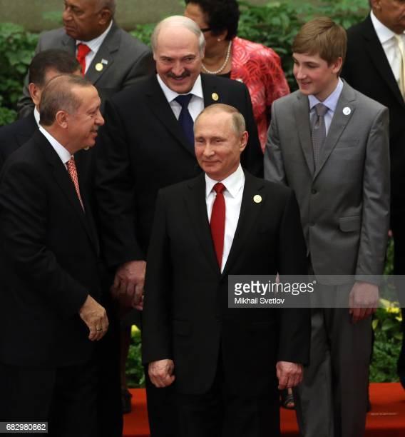 Turkish President Recep Tayyip Erdogan , Russian President Vladimir Putin , Belarussian President Alexander Lukashenko and his son Nikolai Lukashenko...