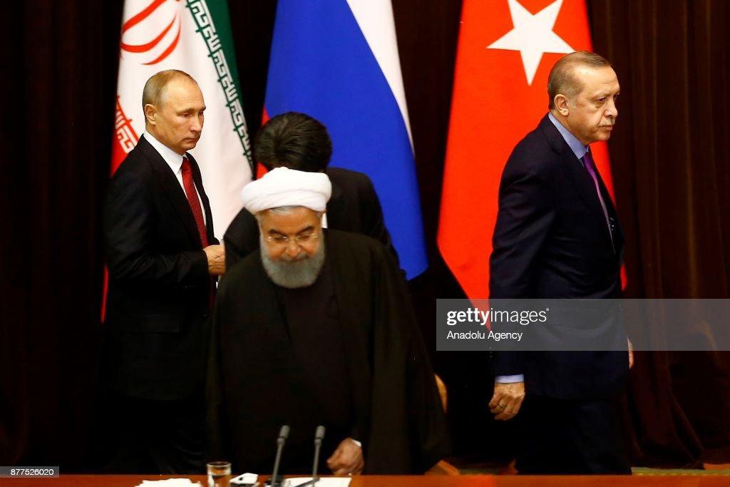 Turkish, Russian, Iranian presidents meet in Sochi : News Photo