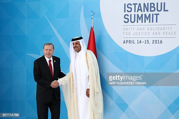 Turkish President Recep Tayyip Erdogan shakes hands with Emir of Qatar Sheikh Tamim bin Hamad Al Thani during the 13th Organization of Islamic...