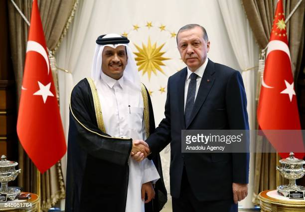 Turkish President Recep Tayyip Erdogan shakes hands with Qatari Foreign Minister Mohammed bin Abdulrahman bin Jassim Al Thani during their meeting at...