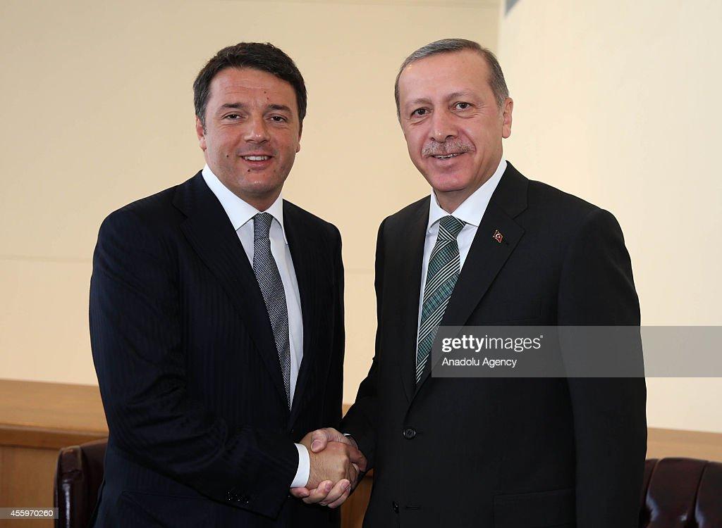 Recep Tayyip Erdogan - Matteo Renzi meeting in New York : News Photo