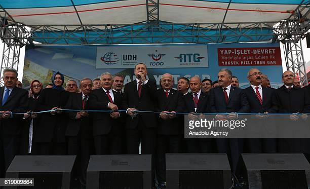 Turkish President Recep Tayyip Erdogan Speaker of the Grand National Assembly of Turkey Ismail Kahraman Turksih President Binali Yildirim Turksih...