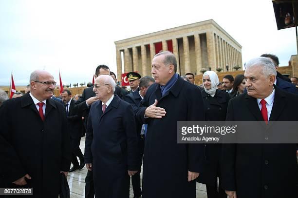 Turkish President Recep Tayyip Erdogan Speaker of the Grand National Assembly Ismail Kahraman Prime Minister Binali Yildirim Ankara Chamber of...