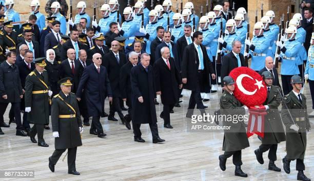 Turkish President Recep Tayyip Erdogan Speaker of the Grand National Assembly Ismail Kahraman Prime Minister Binali Yildirim and Kemal Kilicdaroglu...