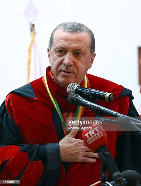 Turkish President Recep Tayyip Erdogan speaks after he is presented with the title of honorary doctorate by Ethiopian President Mulatu Teshome Wirtu...