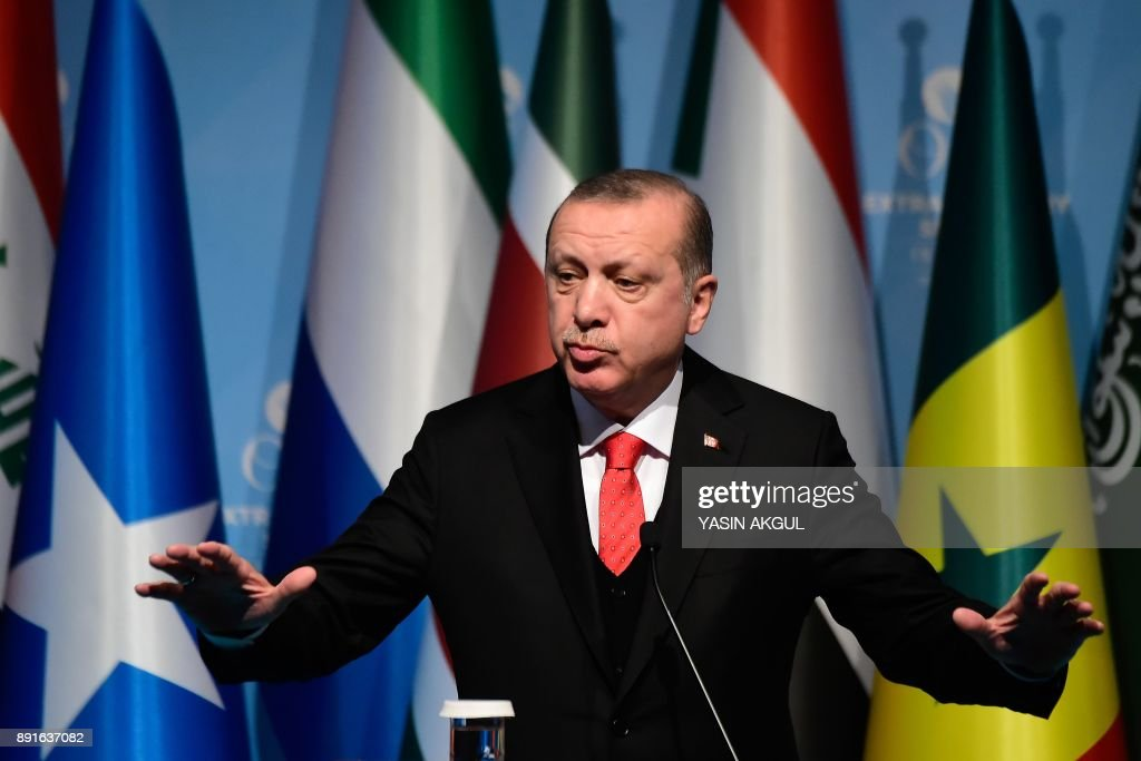 Turkish President Recep Tayyip Erdogan speaks as he holds a press conference following the Extraordinary Summit of the Organisation of Islamic Cooperation (OIC) on last week's US recognition of Jerusalem as Israel's capital, on December 13, 2017, in Istanbul. Islamic leaders on December 13 urged the world to recognise occupied East Jerusalem as the capital of Palestine, as Palestinian president Mahmoud Abbas warned the United States no longer had any role to play in the peace process. /