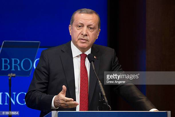 Turkish President Recep Tayyip Erdogan speaks at the Brookings Institution March 31 2016 in Washington DC Erdogan met with US Vice President Joe...