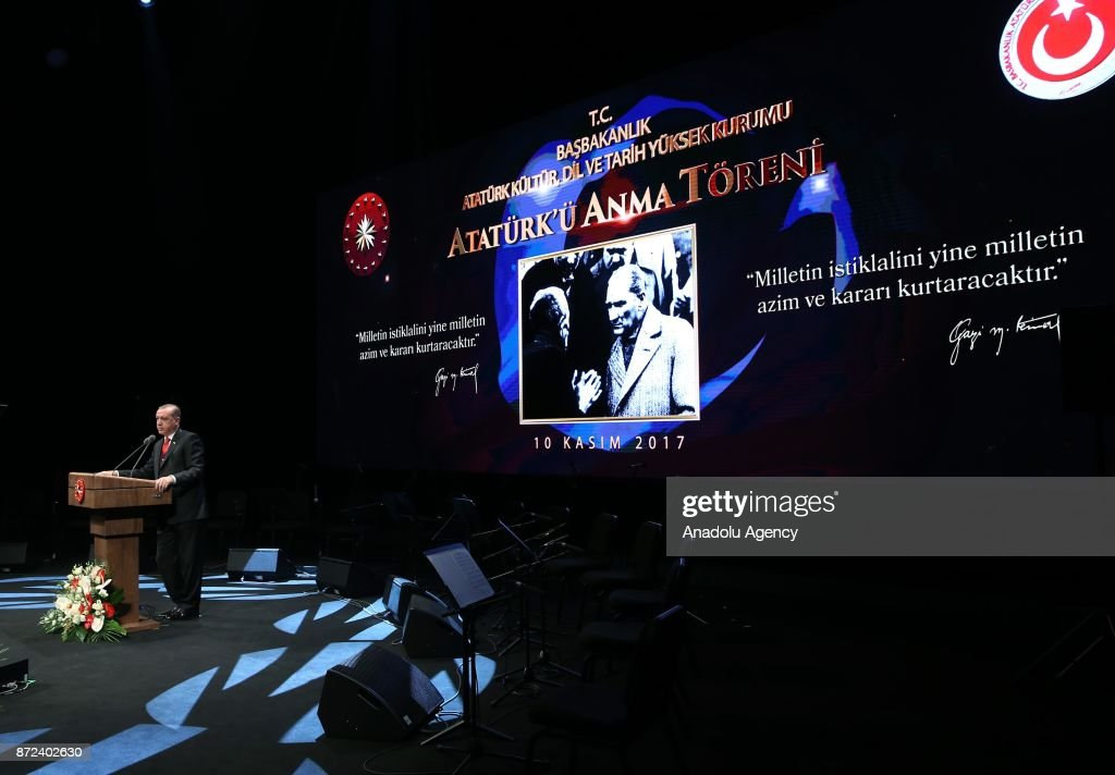 Turkish President Recep Tayyip Erdogan speaks at the commemoration ceremony during the 79th anniversary of founder of the Republic of Turkey Mustafa Kemal Ataturk's death at the Bestepe People's Congress and Culture Center located in the Presidential Complex in Ankara, Turkey on November 10, 2017.