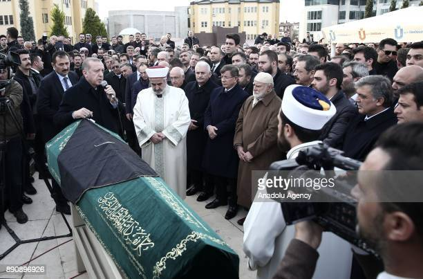 Turkish President Recep Tayyip Erdogan speaks during a funeral ceremony of Turkish businessman President of the Executive Board of Istanbul Chamber...