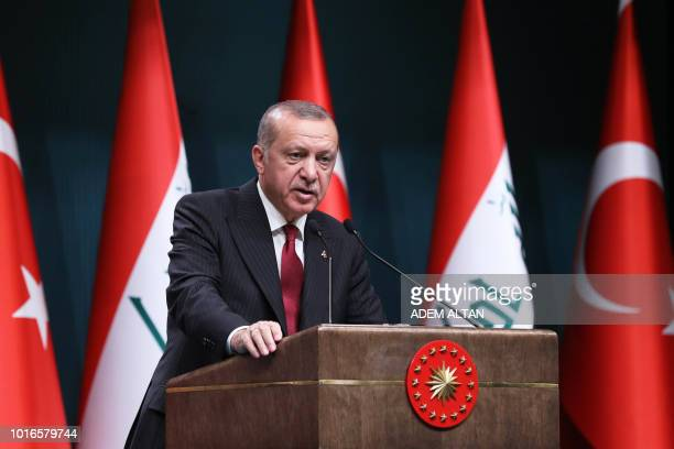 Turkish President Recep Tayyip Erdogan speaks during a joint press conference with the Iraqi prime minister following their meeting at the...