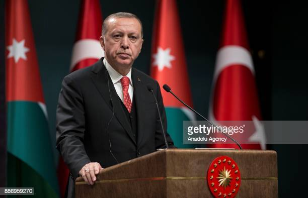 Turkish President Recep Tayyip Erdogan speaks during a joint press conference with King Abdullah II of Jordan after their meeting at the Presidential...