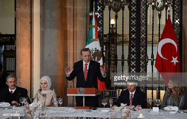 Turkish President Recep Tayyip Erdogan speaks during a lunch in honor of him hosted by Mexican President Enrique Pena Nieto in Mexico City Mexico on...
