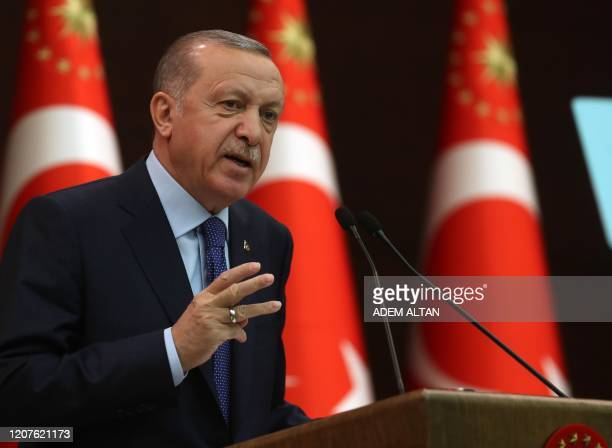 Turkish President Recep Tayyip Erdogan speaks during a press conference held after the coordination meeting to fight against the novel coronavirus,...
