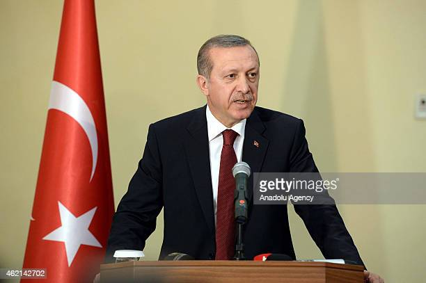 Turkish President Recep Tayyip Erdogan speaks during a press conference with Somalian President Hassan Sheikh Mohamoud in Mogadishu Somalia on...