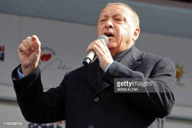 Turkish President Recep Tayyip Erdogan speaks during a rally of Justice and Development Party as part of the local election campaign in Ankara Turkey...
