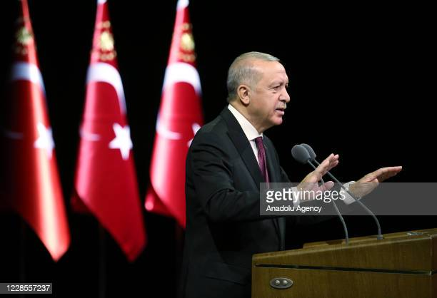 Turkish President Recep Tayyip Erdogan speaks during State Medal of Commendation Ceremony at Bestepe National Congress and Culture Center in Ankara,...