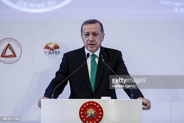 Turkish President Recep Tayyip Erdogan speaks during the Energy Markets Summit held by Association of Energy Experts with the support of Energy...