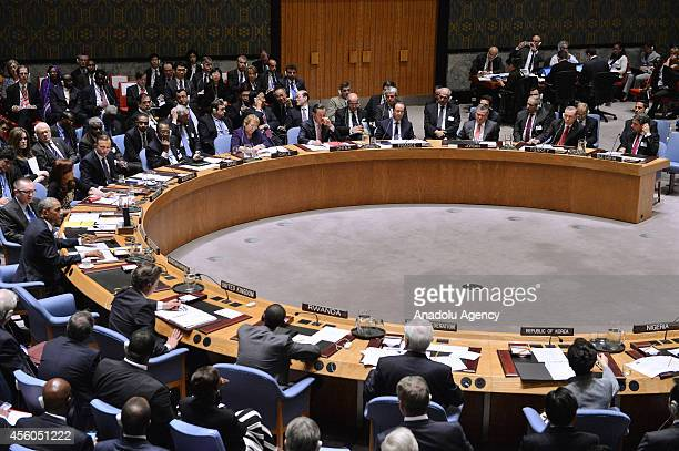 Turkish President Recep Tayyip Erdogan speaks during the United Nations Security Council summit within the 69th session of the UN General Assembly in...