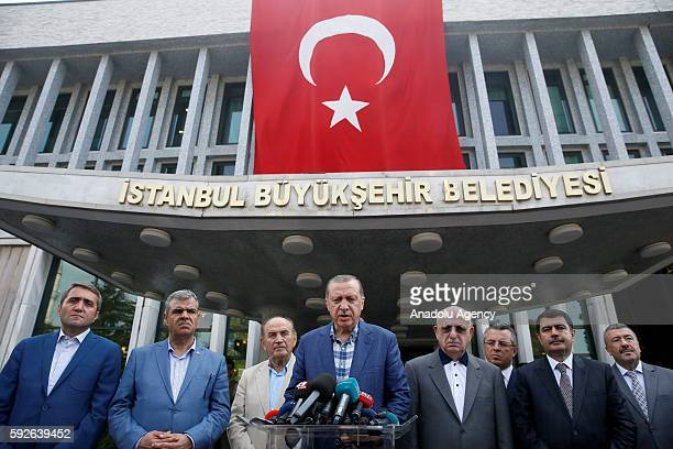 Turkish President Recep Tayyip Erdogan speaks to media as Istanbul Mayor Kadir Topbas , Turkish Deputy Prime Minister Veysi Kaynak , the Governor of...