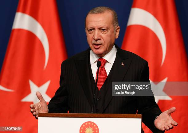 Turkish President Recep Tayyip Erdogan speaks to the press after meeting with Hungarian Prime minister Viktor Orbán for discussions on Syria and...