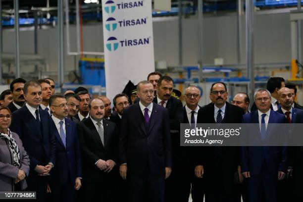 Turkish President Recep Tayyip Erdogan takes a tour at the Tirsan Kardan following its opening ceremony in Manisa Turkey on January 05 2019