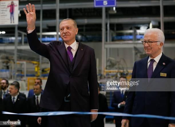 Turkish President Recep Tayyip Erdogan takes a tour at the Tirsan Kardan following its opening ceremony as he is accompanied by Tirsan Kardan CEO...