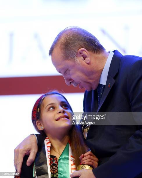 Turkish President Recep Tayyip Erdogan talks with Janna Jihad who reveals her country's problems via social media after giving an award titled brave...