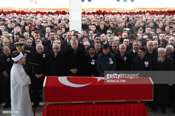 Turkish President Recep Tayyip Erdogan the Speaker of the Grand National Assembly of Turkey Ismail Kahraman Turkish Prime Minister Binali Yildirim...