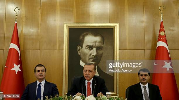 Turkish President Recep Tayyip Erdogan , Turkeys EU Minister Omer Celik and Istanbul Governor Vasip Sahin hold a press conference, ahead of the visit...