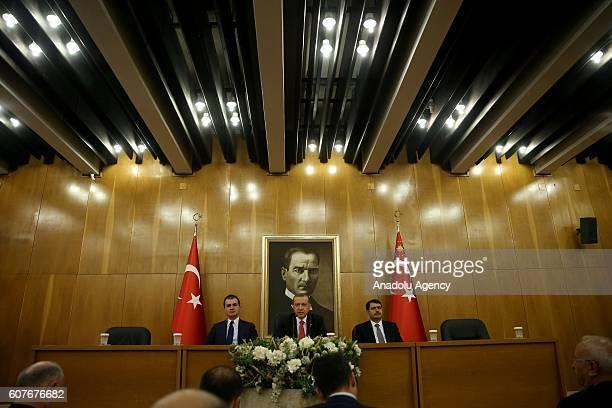 Turkish President Recep Tayyip Erdogan , Turkeys EU Minister Omer Celik and Istanbul Governor Vasip Sahin hold a press conference, ahead of the visit...