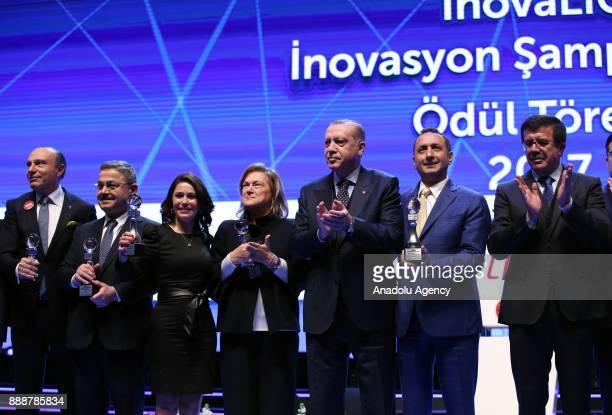 Turkish President Recep Tayyip Erdogan Turkish Economy Minister Nihat Zeybekci and Sabanci Foundation Chair of the Board of Trustees Guler Sabanci...