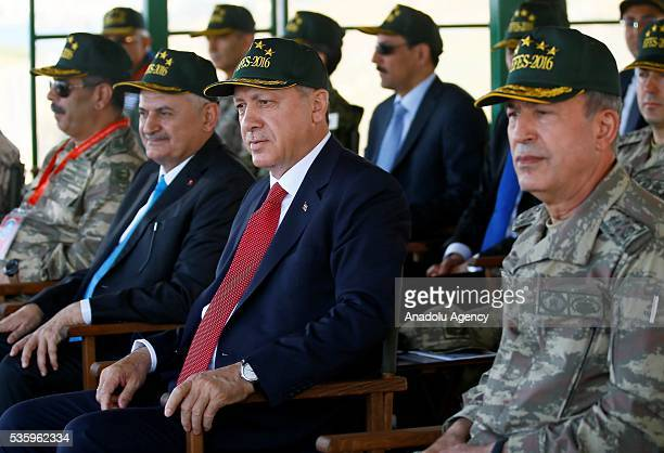 Turkish President Recep Tayyip Erdogan Turkish Prime Minister Binali Yildirim and Chief of the General Staff of the Turkish Armed Forces Hulusi Akar...