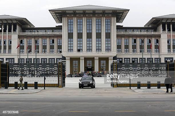 Turkish President Recep Tayyip Erdogan visits the construction of new presidential palace built inside Ataturk Forest Farm in Ankara Turkey on...